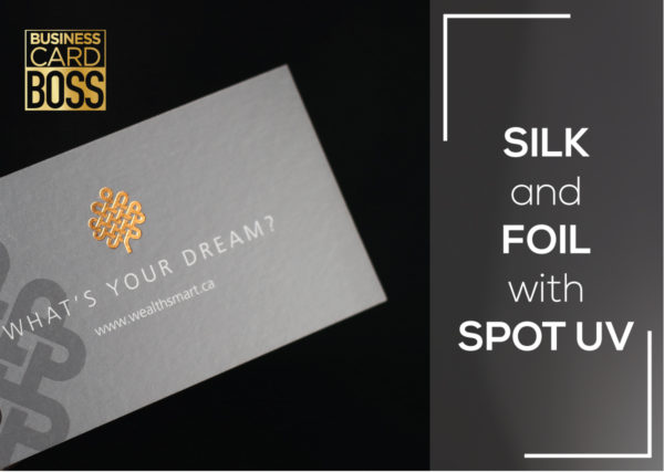 SILK AND FOIL BUSINESS CARD WITH SPOT UV