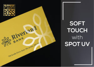 SOFT TOUCH BUSINESS CARDS WITH SPOT UV